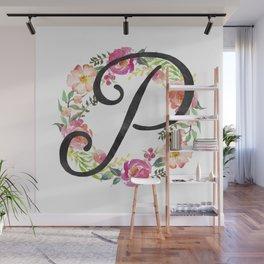 Floral P Monogram Wall Mural