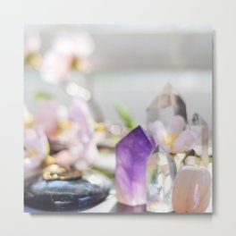 Flowers and Crystals Metal Print
