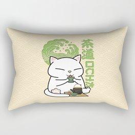 Chubby Cat Green Tea Chado Rectangular Pillow