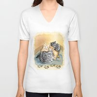 kittens V-neck T-shirts featuring Kittens by Michelle Behar