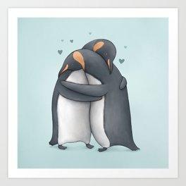 Penguin Hug Art Print