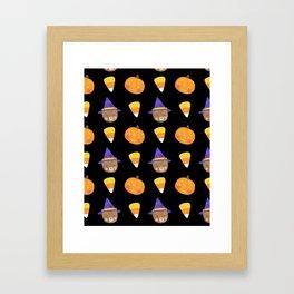 Halloween Friends Pattern Framed Art Print