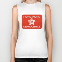 hong kong Biker Tanks featuring Democracy Hong Kong Flag by mailboxdisco
