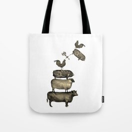Farm Living - Stacked Animals Tote Bag