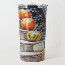 Pumpkins On A Brooklyn Stoop Travel Mug