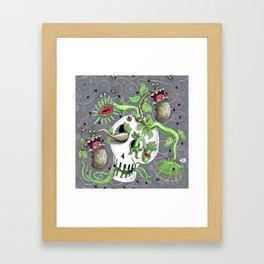 skull pot with carnivorous plants Framed Art Print