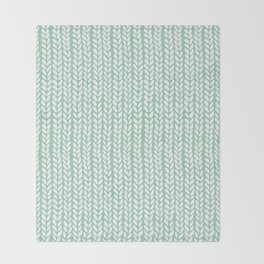 Knit Wave Mint Throw Blanket