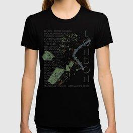 London city map engraving T-shirt