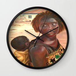 Village Girl with Baby Wall Clock