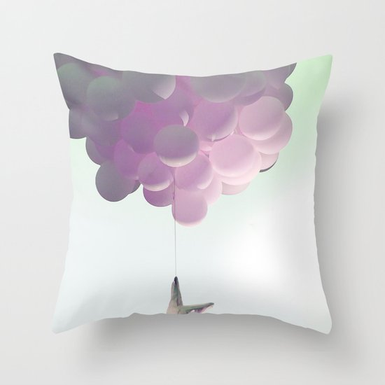 by a thread_ ballon girl Throw Pillow