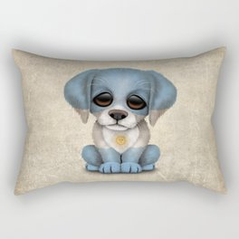 Cute Puppy Dog with flag of Argentina Rectangular Pillow