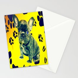 Frenchie Paw Print Stationery Cards