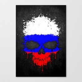 Flag of Russia on a Chaotic Splatter Skull Canvas Print
