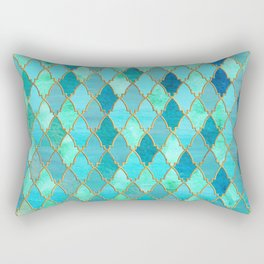 Aqua Teal Mint and Gold Oriental Moroccan Tile pattern Rectangular Pillow