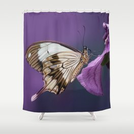 Pretty butterfly on pink flower Shower Curtain