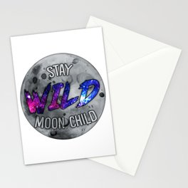 """Stay Wild Moon Child"" Transparent/Galaxy Stationery Cards"