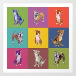 Colorful Pitbulls Art Print