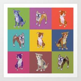 Colorful Pitbulls Art Print