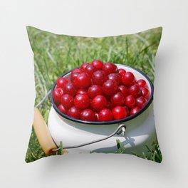 Prunus cerasus sour cherry fruits Throw Pillow