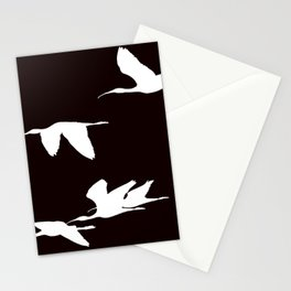 White Silhouette of Glossy Ibises In Flight Stationery Cards