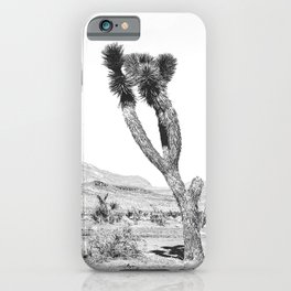 Vintage Desert Scape B&W // Cactus Nature Summer Sun Landscape Black and White Photography iPhone Case