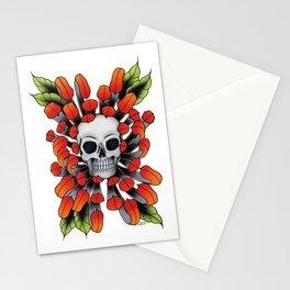 Skull Chrysanthemum  Stationery Cards