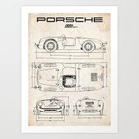 PORSCHE 550 SPYDER VINTAGE RACING CAR RS 60 911 356 SPEEDSTER Art Print