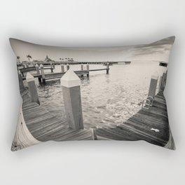 """""""B&W Marina Dock Bay"""" Rectangular Pillow"""