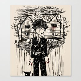 STEP OF TERROR creepy vintage doodle Canvas Print