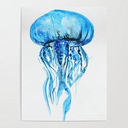 Blue Jellyfish, nautical illustration, sea-life Poster
