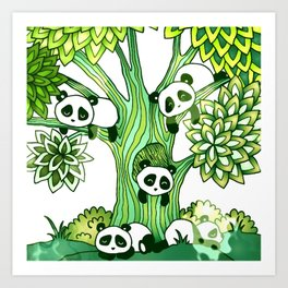Green Panda Tree Art Print
