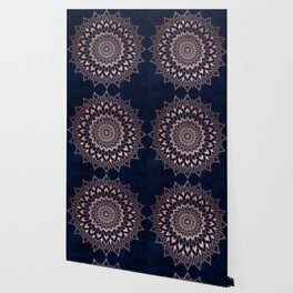 Boho rose gold floral mandala on navy blue watercolor Wallpaper