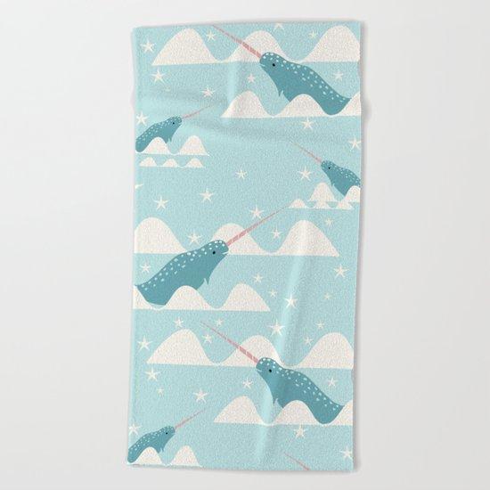 narwhal in ocean Beach Towel