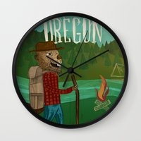 oregon Wall Clocks featuring Oregon by Santiago Uceda