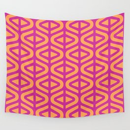 Mid Century Modern Split Triangle Pattern Orange and Magenta 2 Wall Tapestry