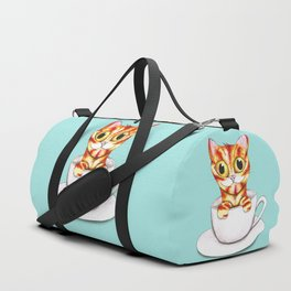 Striped coffee cat Duffle Bag
