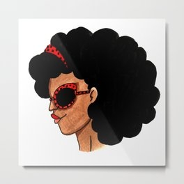 Fro girl Metal Print