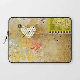 Neutral & Green Abstract Art Collage Laptop Sleeve