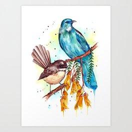 Kowhai Tui and Fantail Art Print