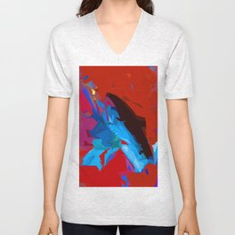 Red and Blue Devine Unisex V-Neck