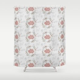 Peach Roses and Laurel Pastels Shower Curtain