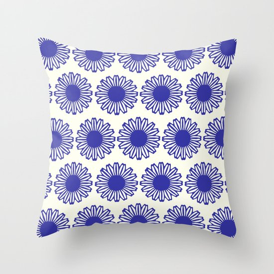 vintage flowers blue  Throw Pillow
