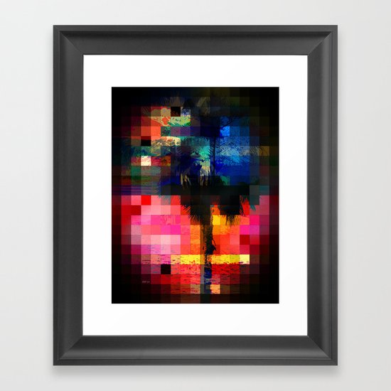 Colorful Tropical Collage Mosaic Framed Art Print