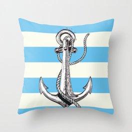 Lets Sail Away Vintage nautical poster Throw Pillow
