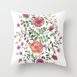 Watercolor floral roze Throw Pillow