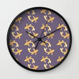 Golden Koi Pattern Wall Clock