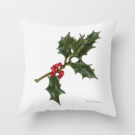 Holly Sprig with Red Berries - watercolor illustration Throw Pillow