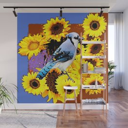MODERN BLUE  JAY & COFFEE BROWN SUNFLOWERS Wall Mural