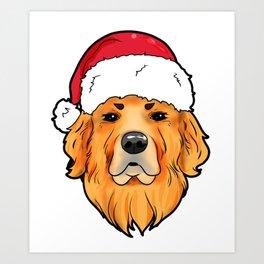 Golden Retriever Christmas Present Gif Art Print
