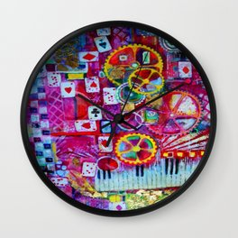 Red Queen's Player Piano Poker Game Wall Clock